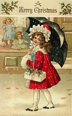 Vintage Christmas card showing little girl in front of Toy Store display