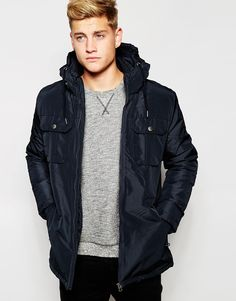 "Jacket by Jack & Jones Canvas outer Hooded neck Zip placket Applique logo Functional pockets Regular fit - true to size Machine wash 100% Polyester Our model wears a size Medium and is 185.5cm/6'1"" tall"