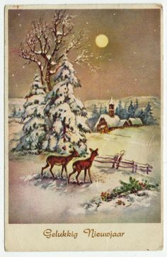 Postcards - Greetings & Congrads #  578 - Happy New Year - Winter Scene with Deers