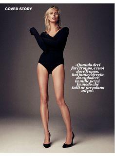 Karolina Kurkova in a TRUSSARDI wool body from the Fall Winter 2015 collection - D La Repubblica