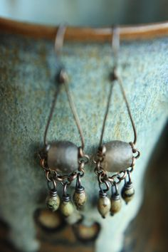 Smoky Grey Recycled Glass on Raw Copper With by SparrowtaleStudio, $22.00