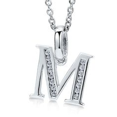 """Sterling Silver 925 Cubic Zirconia CZ Initial """"M"""" Pendant Necklace - Nickel Free BERRICLE. $44.99. Metal : Stamped 925. Nickel Free and Hypoallergenic. Stone Type : Cubic Zirconia. Gender : Women. Stone Total Weight (ct.tw) : 0.075"""
