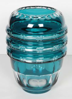 Turquoise Cut Crystal Vase by Val Saint Lambert | From a unique collection of antique and modern vases at https://www.1stdibs.com/furniture/dining-entertaining/vases/ Turquoise Cut Crystal Vase by Val Saint Lambert  Offered By Nest Interiors  $1,050
