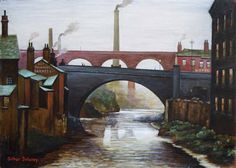 """Stockport Viaduct"" Oil by Arthur Delaney (British) Stockport Market, Urban Painting, Railway Posters, Magazine Illustration, Naive Art, 2d Art, City Art, Magazine Art, Art Market"