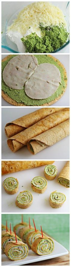 Pesto Tortilla Pinwheels--perfect little snacks Tapas, I Love Food, Good Food, Yummy Food, Tortilla Pinwheels, Healthy Snacks, Healthy Recipes, Snacks Für Party, Party Appetizers