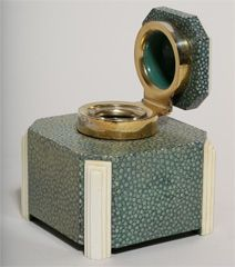 English Art Deco Shagreen & Ivory Silver-mounted Inkwell by G. B. & S thumbnail 6