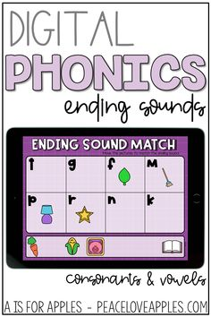 Get ending sound phonics practice with these digital activities for PowerPoint, Google Slides, and Seesaw. Match pictures to ending letter sounds and match the ending sound letter to a picture.