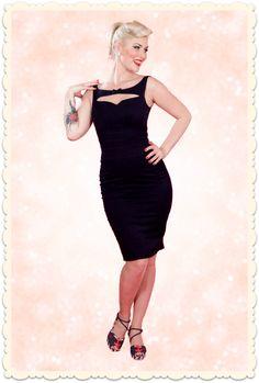 Robe crayon sexy et glamour noire, modèle Rena-Lou. Forme crayon moulante et longueur sous le genou, très rétro. Style années 50, Mad Men via missretrochic.com