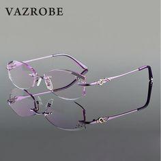 dd4ce47bb3 Vazrobe Rimless Glasses Frame Women Rhinestone Elegant Ladies Eyeglasses  Frames for Prescription Diopter Myopia