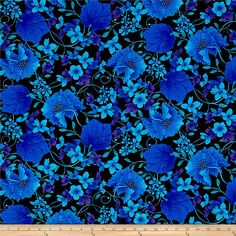 Timeless Treasures Mosaic Plume Mosaic Floral Black from @fabricdotcom  Designed by Chong-a-hwang for Timeless Treasures, this cotton print collection is perfect for quilting, apparel, and home decor accents. Colors include shades of blue, teal, purple, black, and yellow accents.