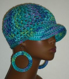 Stephanie Mix Chunky Crochet Baseball Cap with Hoop Earrings by Razonda Lee Razondalee Ready to Ship