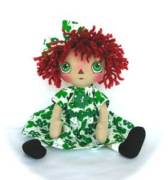 Primitive Raggedy Ann Doll Shamrock St by cottoncandydolls on Etsy, $35.00