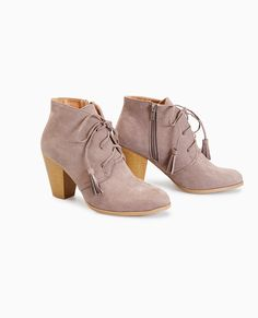 Wet Seal Faux Suede Lace-Up Ankle Booties Taupe -size 10