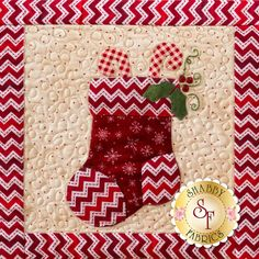 Hang your stockings by the fireplace in preparation for Christmas! This is a block from Shabby Fabrics' Christmas Keepsakes Block of the Month wall hanging available here: https://www.shabbyfabrics.com/-Christmas-Keepsakes-BOM-Pre-fusedLaser-P30953.aspx