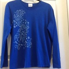 Beautiful Blue Long Sleeved T-Shirt Beautiful blue long sleeved t-shirt with paisley design on one side. No design on the back. Worn once, is in perfect condition.  100% Cotton. Size Large. Hanes Her Way Tops Tees - Long Sleeve