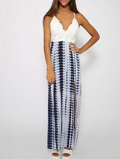 Side Slit Absorbing Spaghetti Strap Maxi-dress #ClothingOnline #PlusSizeWomensClothing #CheapClothing #FashionClothing #womenswear #sexydress #womensdress #womenfashioncasual #womensfashionforwork  #fashion #womensfashionwinter