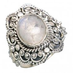 925 SOLID STERLING FINE SILVER Rainbow Moonstone RINGS