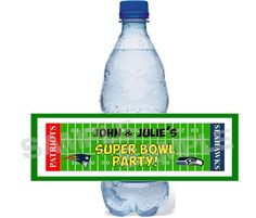 SEAHAWKS PATRIOTS SUPERBOWL TAILGATE water bottle label wrappers PERSONALIZED