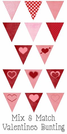 valentines bunting button Free Printable Valentines Mix and Match Bunting Valentines Day Decorations, Valentines Day Party, Valentine Day Crafts, Love Valentines, Valentine Heart, Valentinstag Party, San Valentin Ideas, Printable Banner, Printable Hearts