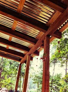 Swoopy Patio Roof Big 16x18 Foot Roof Covers Back Patio Sturdy 4x6 Posts Support Long Double