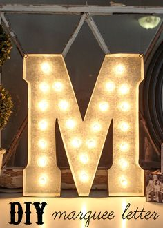 Love this bright idea! Check out this DIY marquee letter tutorial on Lil Luna. Diy Marquee Letters, Marquee Sign, Marquee Lights, Metal Letters, Monogram Letters, Winter Wonderland Christmas, Crafty Craft, Crafting, Diy Wedding Decorations