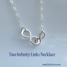 Double Infinity Necklace, Mommy & Me Necklace, Infinity Pendant Necklace, Silver Infinity Jewelry, Figure Eight, Sideways Infinity Necklace on Etsy, $27.00