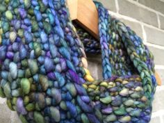 Hand Knit Merino Wool Infinity Scarf in by OopsIKnittedAgain