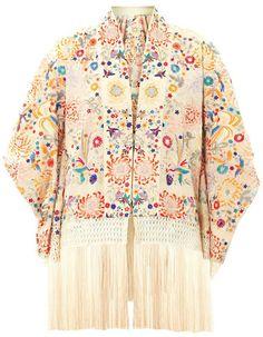 kimono à fleurs et franges talitha
