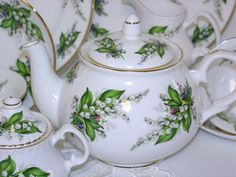 Lily of the Valley, Bone China Tea Pot Made In England by Sheltonian
