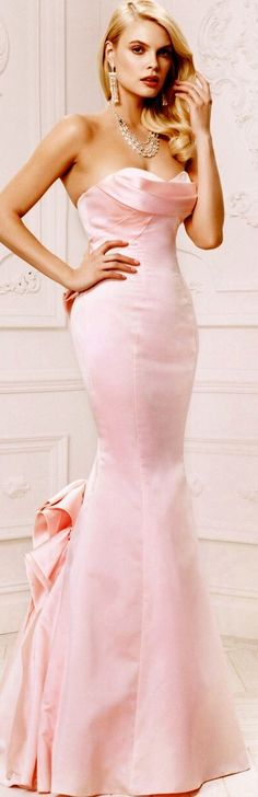 Truly Zac Posen for David's Bridal Spring 2015 earrings necklace hair character dress Estilo Glamour, Mode Glamour, Pink Gowns, Pink Dress, Dress Up, Moda Fashion, Pink Fashion, Evening Dresses, Prom Dresses