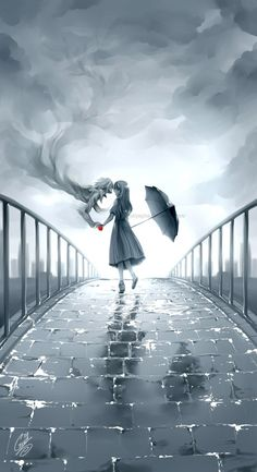 After the Rain by saiyagina.  > > I was disappointed to learn this painting was Twilight-inspired, not Death Note-inspired (totally looks like it could be L's spirit saying goodbye to Misa in the last scene) I like it but still. #deathnote #L