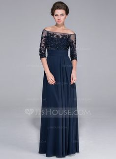 A-Line/Princess Off-the-Shoulder Floor-Length Chiffon Mother of the Bride Dress With Beading Appliques Lace Sequins (017025450) - JJsHouse