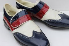 Great Incredbly Vintage Red White And Blue Mens Golf Shoes Green Joys by hiphuggie, Kids Golf Clubs, Ladies Golf Clubs, Best Golf Clubs, Golf Apps, Golf Putting Tips, Golf Club Sets, Golf Exercises, Womens Golf Shoes, Play Golf