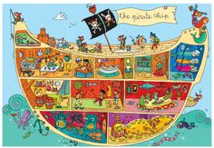 The Pirate Ship, Super Sized Floor Puzzle, by Ravensburger - PAL Award - Top Toys, Games, Books that Encourage Language Jack Le Pirate, The Pirates, Pirate Activities, Groups Poster, Poster Art, Hidden Pictures, Vintage Poster, Pirate Theme, Cute Illustration