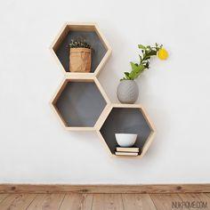 Teen Room Decor, Bedroom Decor, Wall Decor, Wall Design, Design Case, Tv Stand And Panel, Honeycomb Shelves, Disney Home Decor, Wood Painting Art