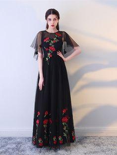 Black Lace Jewel Short Sleeves Zipper-Up Floor-Length Evening