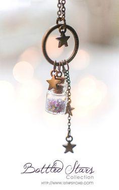 Tiny Bottle necklace with glitter stars. Glass bottle pendant