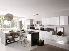 modern design of the kitchen, stylish accessories, white kitchen, modern interior, creative chandelier Kitchen Projects, Kitchen Remodel, White Modern Kitchen, Kitchen Inspirations, Classic Kitchens, Kitchen Interior, Interior Design Kitchen, Contemporary Country Home, Kitchen Cabinets