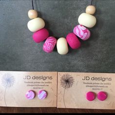 Handmade polymer clay necklace and earring set only $30! Free postage anywhere is AUS Gorgeous necklace that is so sweet with beautiful pink marble and vanilla colour beads.