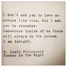 f. scott fitzgerald tender is the night quote typed on typewriter & framed