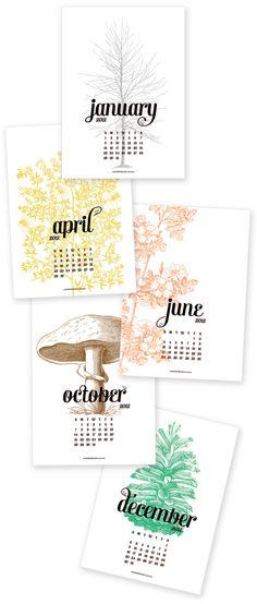 one little bird new printable calendars for 2012