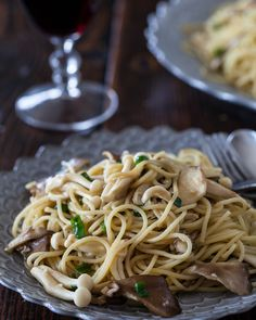 noodles sauted with miso garlic butter and fresh mushrooms.  two tbs butter to 1/2 lb pasta, still pretty light!