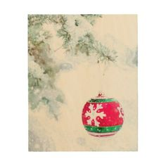 Christmas ornament white snow watercolor wood wall art - holidays diy custom design cyo holiday family