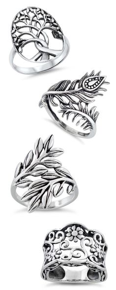 Tree, Peacock, Leaves in sterling silver? These are gorgeous!!