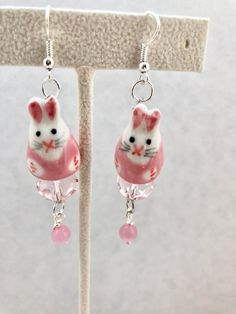 Easter Pink White Bunnies China Silver Dangle Earrings Doodaba
