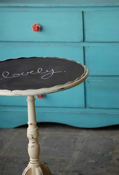 Chalkboard painted table for the twins' scribbles (when they're older)