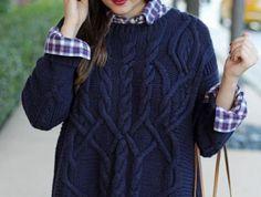 pullover-wolle-damen-dunkelblau-Zopfen-Muster-kariertes-Hemd