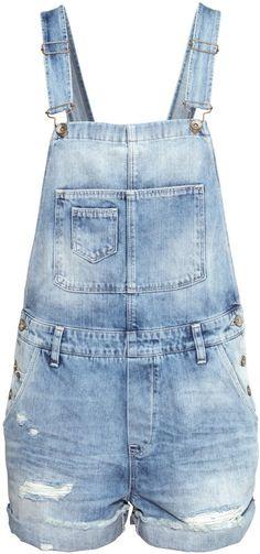 H&M - Bib Overall Shorts - Light denim blue - Ladies