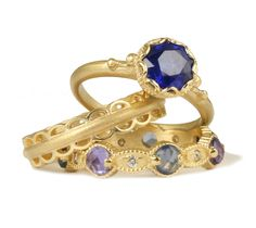 Sapphire Engagement Ring and Wedding Bands by Megan Thorne