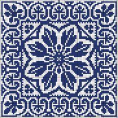 Blue tile   Chart for cross stitch or filet crochet   Wolf et Dupeyron.